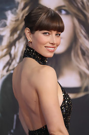 Jessica's blunt bangs were back in full force with this sophisticated updo and divine gown.