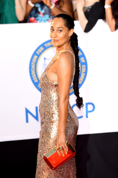 Tracee Ellis Ross Metallic Clutch [red carpet,shoulder,hairstyle,dress,carpet,fashion,premiere,long hair,joint,flooring,arrivals,tracee ellis ross,naacp image awards,pasadena civic auditorium,california]