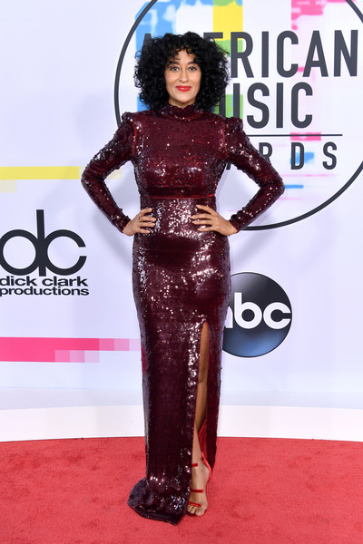 Tracee Ellis Ross Strappy Sandals [red carpet,carpet,clothing,dress,fashion,flooring,premiere,haute couture,style,arrivals,tracee ellis ross,american music awards,microsoft theater,los angeles,california]