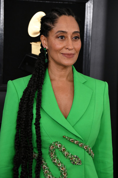 Tracee Ellis Ross Long Braided Hairstyle [green,fashion,hairstyle,fashion design,premiere,outerwear,dress,long hair,fashion model,black hair,arrivals,tracee ellis ross,grammy awards,staples center,los angeles,california,annual grammy awards]