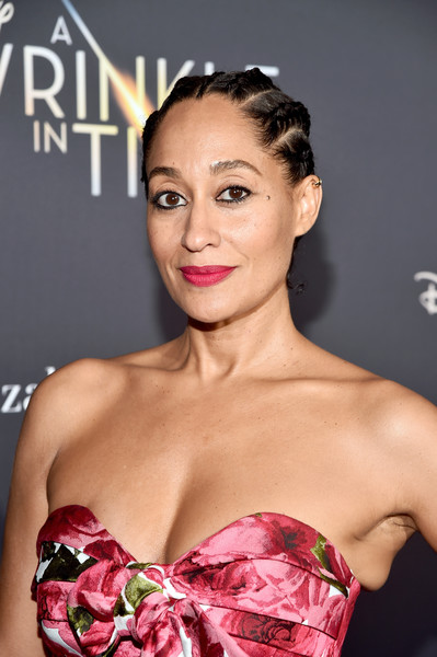 Tracee Ellis Ross Braided Updo [a wrinkle in time,beauty,pink,skin,human hair color,fashion model,hairstyle,lady,girl,shoulder,fashion,tracee ellis ross,hollywood ca,el capitan theatre,disney,world premiere,world premiere]