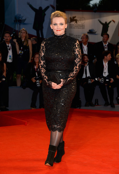 Robyn Davidson wore a long-sleeve sparkly lace dress to the 'Track' premiere at the Venice Film Festival.
