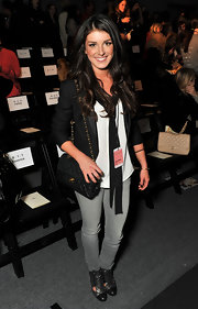 Shenae Grimes topped off her ensemble with metallic cap-toe cutout booties.