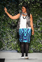 Does Tracy Reese know fun or what? The designer added a pop of color to her look with this bright printed skirt.