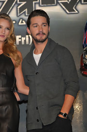 Shia LaBeouf's charcoal cardigan was a dapper finish to his ensemble at the 'Transformers' press conference.