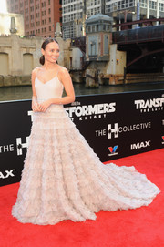 Continuing her 'Transformers: The Last Knight' promo run, Laura Haddock chose another princess-worthy gown, this time by Miu Miu, for the movie's US premiere.