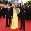 Jessica Chastain (in Zac Posen) with Sean Penn and Brad Pitt at the 2011 Cannes Film Festival
