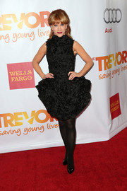 Kathy Griffin sported a frilly silhouette in a high-neck LBD with a puffed skirt when she attended TrevorLIVE.