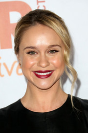 Becca Tobin finished off her look with a sexy deep-red lip color.