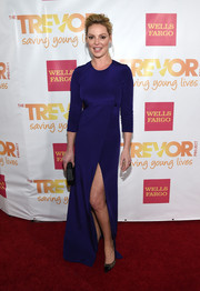 Katherine Heigl exuded classic sophistication at the TrevorLIVE LA event in a blue Kaufmanfranco gown with a thigh-baring slit.