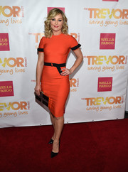 Elisabeth Rohm looked very classy at the TrevorLIVE LA event in a bright red sheath with a black belt and sleeve accents.