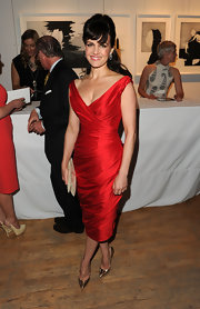 Carla Gugino looked killer in this red taggeta cocktail dress at the Tribeca Ball.