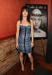 Actress and sometimes rock goddess Juliette Lewis showed off her animal instincts while attending the Tribeca Film Festival. The blue color put a modern spin on the classic leopard print.
