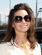 Gina Gershon sweetened up her look with a gold heart pendant necklace during the Tribeca/NYFest Soccer Day.