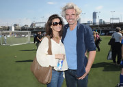 Gina Gershon looked relaxed in her loose blouse, jeans, and tan leather hobo bag combo during the Tribeca/NYFest Soccer Day.