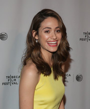 Emmy Rossum looked pretty with her bouncy waves at the Tribeca Talks After the Movie event.