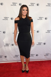 Eva Longoria looked ageless in her figure-hugging Roland Mouret LBD, featuring shoulder cutouts and an architectural neckline, during the Tribeca Talks/ESPN Sports Film Festival.