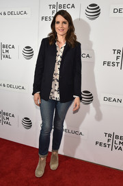 Tina Fey layered a black blazer over a print blouse for a casual yet smart look during the Tribeca Talks Storytellers event.