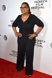 Oprah Winfrey donned a black jumpsuit with a crossover bodice for the Tribeca Tune-In event.