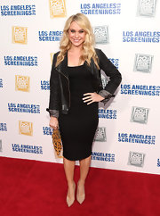 Becca Tobin rocked a classic sheath dress with a black leather jacket.