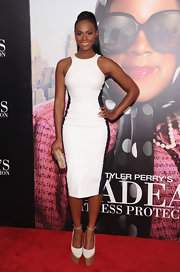 Tika Sumpter's black-and-white dress at the premiere of 'Tyler Perry's Madea's Witness Protection' had an elegant yet sporty feel.