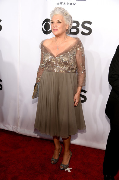 Tyne Daly Off-the-Shoulder Dress