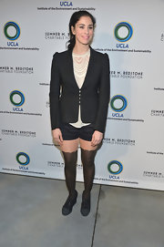 Sarah Silverman paired short shorts with over-the-knee socks with scalloped edges for a quirky evening look.