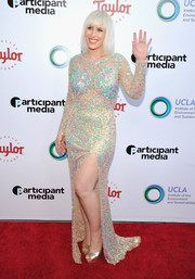 Natasha Bedingfield channeled her inner mermaid princess in this multicolored sequin gown for the UCLA Institute of the Environment and Sustainability Gala.