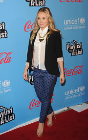 Kristen Bell strode the red carpet at the UNICEF Playlist With the A-List event wearing sexy nude peep toe platform pumps.