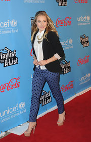 Kristen Bell got playful on the red carpet in these polka-dotted cigarette pants.