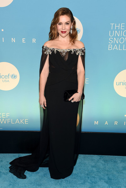 More Pics of Alyssa Milano Off-the-Shoulder Dress (1 of 10) - Dresses & Skirts Lookbook - StyleBistro [dress,clothing,shoulder,carpet,hairstyle,red carpet,fashion,premiere,little black dress,long hair,alyssa milano,usa,new york city,cipriani wall street,unicef,snowflake ball]
