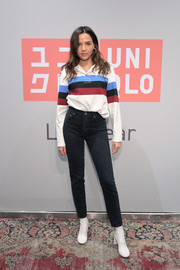 Georgie Flores was sporty in a striped polo shirt by Uniqlo x JW Anderson at the Uniqlo 2019 collections celebration.