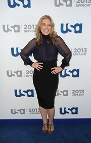 Piper rocked this sleek black pencil skirt at the USA Upfront event.