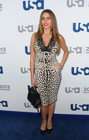 Sofia Vergara looked sultry and glamorous in this leopard-print dress that featured a lace neckline.