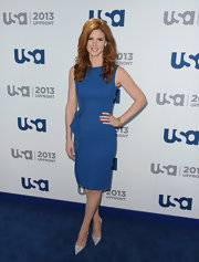 Sarah Rafferty's blue sheath dress looked classic and professional on the actress.