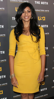 Reshma Shetty looked fetching in a bow-embellished yellow cocktail dress.