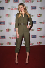 Marisa salutes the troops in this fun military jumpsuit.