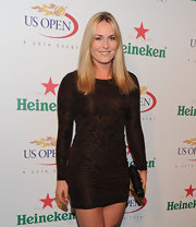 Lindsey Vonn showed her wild side with this long-sleeved, animal print frock.