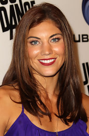Hope Solo's pearly whites looked ultra-bright thanks to her matte crimson lipstick.