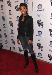 Brandy looked ready for fall in a pair of leather knee-high boots.