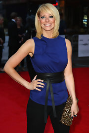 Liz Mcclarnon's leopard-print clutch was a striking addition to her simple get-up at the premiere of 'The Ugly Truth.'