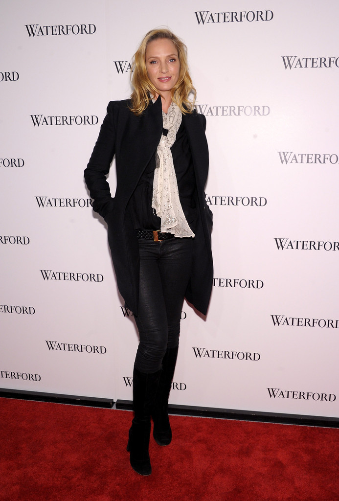 Uma Thurman Knee High Boots Uma Thurman Looks Stylebistro