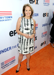 Katie Couric donned a black-and-white print dress for the LA premiere of 'Under the Gun.'