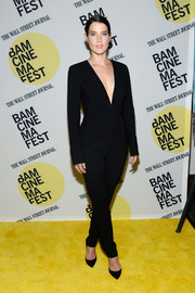For the premiere of 'Unexpected,' Cobie Smulders donned a black Misha Nonoo jumpsuit that oozed plenty of sex appeal with its plunging neckline.