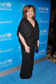 We couldn't think of a more perfect holiday gown than this bedazzled black kimono dress Caroline wore to the UNICEF Snowflake Ball.