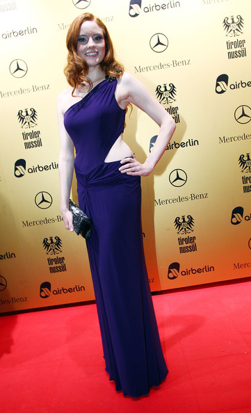 Barbara Meier arrived at the United People Charity Night in a beautiful blue cutout dress.