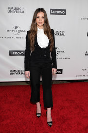 Hailee Steinfeld opted for a cropped black pantsuit by Teresa Helbig when she attended the 2020 Universal Music Group Grammy after-party.
