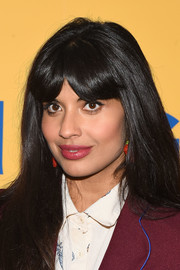 Jameela Jamil attended the FYC screening of 'The Good Place' wearing her signature long straight cut with center-parted bangs.