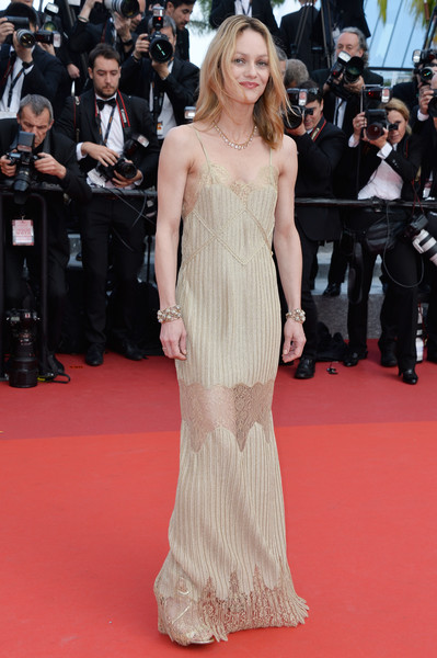 Vanessa Paradis made a sultry choice with this gold lace-panel slip dress for the Cannes premiere of 'The Unknown Girl.'