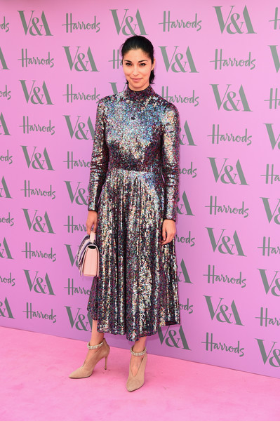 Caroline Issa went for major sparkle in a fully sequined Escada dress at the V&A Summer Party.
